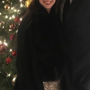 Black faux fur stole collar